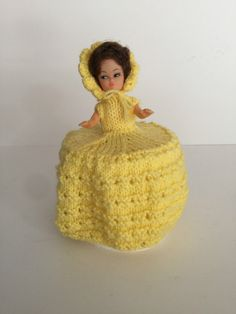 Kitsch Retro Yellow Crochet Crinoline Dress Doll, Toilet Roll Holder in Collectables, Vintage/ Retro, Crochet Humor, Funny Crochet, Shabby Chic Toilet, Crinoline Dress, Jean Crafts, Toilet Roll Holder, Paper Cover, Crochet Gifts, Kitsch