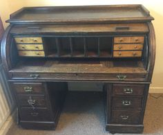 Unfortunately I took everyones advice to 'wait' and offer less . . .  missed out on this. Will go with my heart next time!!! Handsome Roll Top Antique Desk - Solid Wood - Home, Office, Study in Antiques, Antique Furniture, Desks | eBay