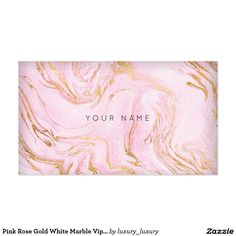 Pink Rose Gold White Marble Vip Glam Pack Of Standard Business Cards