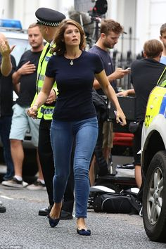 Startled: He was joined by co-star Gemma Arterton, who plays Emily, the estranged wife of Max (Idris Elba)