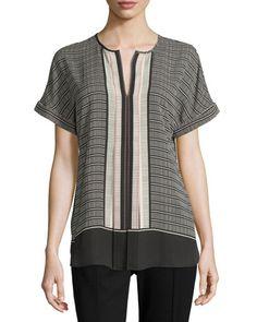 Max Studio Short-Sleeve Printed Blouse, Pink/Black Bars New offer @@@ Price :$88 Price Sale $49