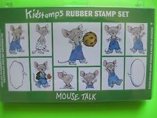 """Felicia Bond Kidstamps Rubber Stamp Set """"Mouse Talk"""", images from book """"If You Give a Mouse a Cookie"""""""