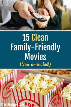 15 Clean, Family-Friendly Movies (non-animated!) - - Having a hard time finding good movies for whole family? Check out this list of 15 clean, family-friendly movies everyone will enjoy. all non-animated! Top Family Movies, Netflix Family Movies, Films On Netflix, Netflix Movies To Watch, Movie To Watch List, Disney Movies To Watch, Teen Movies, Good Movies To Watch, Family Movie Night