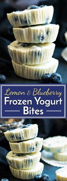 A healthy afternoon snack or dessert recipe for frozen Greek yogurt bites.  Lemon and blueberry flavors combine to make them a super fresh and fruity gluten-free treat!
