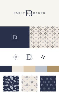 Emily Baker brand identity Love the simplicity and elegance of the brand design. Logo is stunning and unique. Captures the essence and style of the overall brand. Colors and patterns are subdued and have a regal tone to match the style. Layout Design, Graphisches Design, Regal Design, Pattern Design, Elegant Logo Design, Cover Design, Design Trends, House Design, Corporate Identity Design