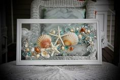 This Sea Glass Art is a beautiful piece that is ready to great to hang on a wall or a window! Any beach lover would treasure this piece forever.  The shells are bonded onto the glass with resin. The simple classic frame measures approximately 21 x 11, and is pure white in color.  Among the Beach Cottage Decor, Coastal Decor, Blue Wall Decor, Wave Art, Bathroom Wall Art, Sea Glass Art, Window Art, Beach Art, Art Pictures