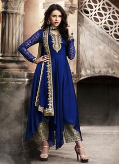 Other Women's Clothing Women's Clothing Loyal Latest Designer Blue Anarkali Salwar Kameez Indian Pakistani Fashion Wear Suit With The Most Up-To-Date Equipment And Techniques
