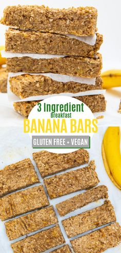 Breakfast Banana Bars - 3 ingredients Gluten Free & Vegan