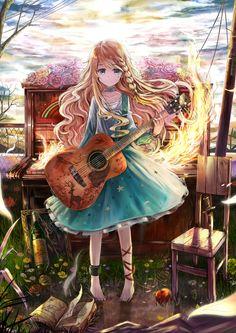 ✮ ANIME ART ✮  music. . .musician. . .guitar. . .piano. . .fire. . .flowers. . .long hair. . .dress. . .kawaii