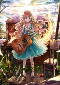 ✮ ANIME ART ✮  music. . .musician. . .guitar. . .piano. . .fire. . .flowers. . .long hair. . .dress. . .kawaii