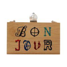 Bon Jour Wooden Clutch by Cecilia Ma