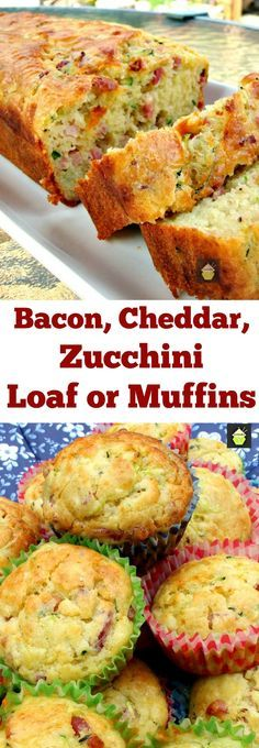 Bacon Cheddar Zucchini Bread or Muffins great for parties pot lucks and also freezer friendly too! Bacon Cheddar Zucchini Bread or Muffins great for parties pot lucks and also freezer friendly too! Zucchini Loaf, Bacon Zucchini Muffins, Zucchini Cookies, Zucchini Muffin Recipes, Bread Recipes, Cooking Recipes, Hamburger Recipes, Meatloaf Recipes, Potato Recipes