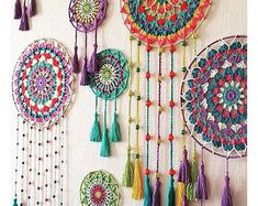 Easy Bohostyle Dream catchers bright color knitted dream catchers handmade wall decor home decor wall hanging dream catcher Doily Dream Catchers, Dream Catcher Craft, Homemade Dream Catchers, Motif Mandala Crochet, Mandala Yarn, Crochet Dreamcatcher Pattern, Dream Catcher Patterns, Crochet Wall Hangings, Wind Chimes