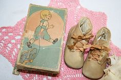 Vintage Baby Shoes Brush and Comb and silken baby stockings/socks
