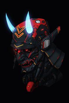 'Neon Devil Samurai' by Character Concept, Character Art, Concept Art, Oni Maske, Cyberpunk Kunst, Cyberpunk Tattoo, Samurai Artwork, Japon Illustration, Sci Fi Art