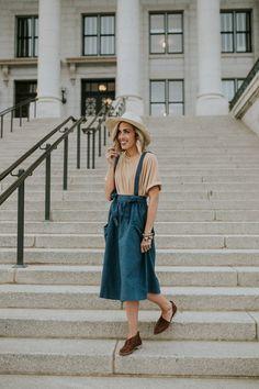 Velvet Tee + Overall Skirt | ROOLEE
