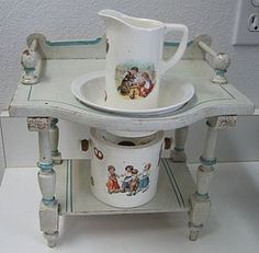 Antique doll size miniature white & blue painted washstand (item #1280831)