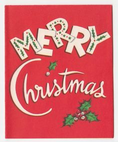Vintage Greeting Card Christmas Typography Mid-Century 1950s Font a430