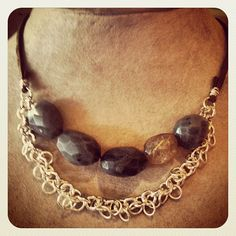 leather, rutilated quartz, chain, and agate:)