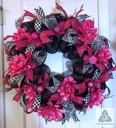 Hot Pink & Black Deco Mesh Wreath by AQuaintHaberdashery on Etsy, $105.00