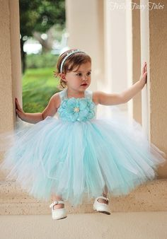Blue Flower Girl Dress Sizes 3m 3T by FrillyFairyTales on Etsy. Wedding Dresses for bridesmaid