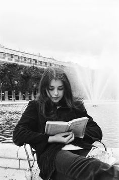 Lost in a book- black + white portrait- name of model is unknown