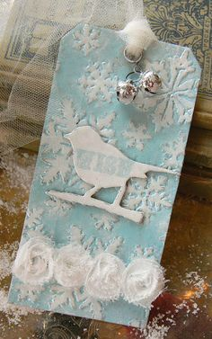Embossed & inked bird tag or card...adapt to use of SU Bird punch