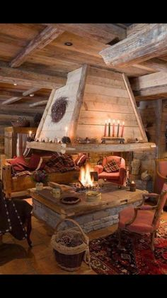 rustic chalet or cabin with a fantastic fireplace.just need snow and a good book! Decor Scandinavian, Boho Home, Log Cabin Homes, Log Cabins, Barn Homes, Cabins And Cottages, Fireplace Design, Open Fireplace, Cabin Fireplace