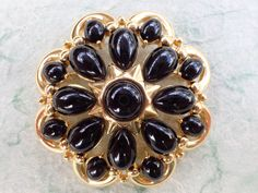 Vintage Signed Trifari Brooch gold tone black cabochons AB623 by MeyankeeGliterz on Etsy