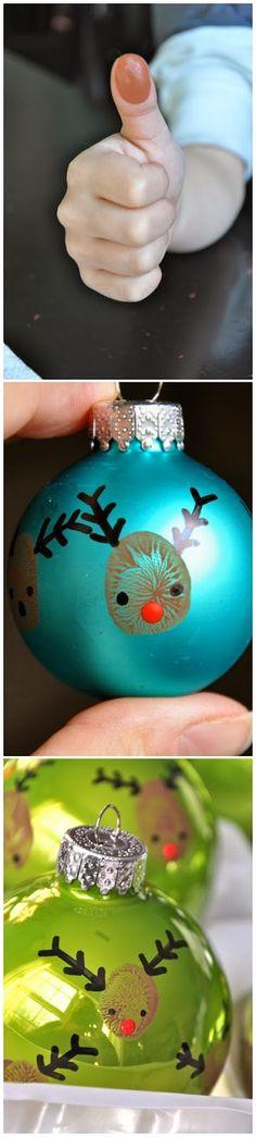 DIY Thumbprint Reindeer Ornament