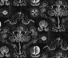 Vintage Jellyfish in Hazy Black fabric by willowlanetextiles on Spoonflower - custom fabric