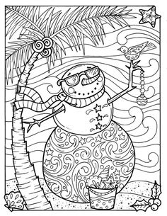 Octopus Christmas Coloring page Adult color Holidays beach ...