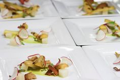 """The first course of our pop up beer pairing dinner. This was paired with @Rockmill Brewing Witbier.  Root Veg """"Salad"""" Arugula-Apple Purée, Compressed Turnips, Grilled Baby Carrots, Shaved Radish,  Micro Red Watercress, Pistachio-Coriander Tuile"""