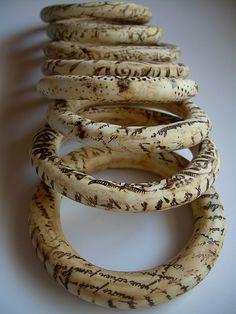 Bracelets | Elvira Lopez del Prado.  'Bone Series'.  Polymer Clay