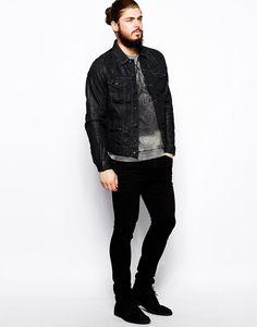 black jean jacket men - Google Search