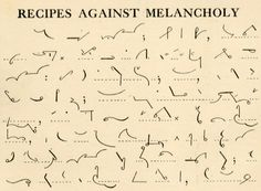 'Recipes Against Melancholy' from the Pitman's Shorthand Manual, New Era Edition, 'Advanced Stage', London, 1927 (via Stephen Ellcock)