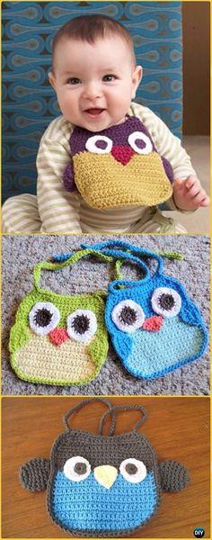 Crochet Owl Baby Bib Free Pattern - Crochet Baby Shower Gift Ideas Free Patterns