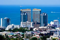 An elevated view of Trinidad & Tobago's capital city. Port of Spain, Trinidad Port Of Spain Trinidad, Trinidad Und Tobago, Trinidad Island, Beautiful Places To Travel, Cool Places To Visit, Travel Set, Island Life, Capital City, Architecture