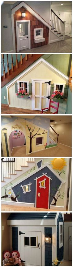 What great idea of having a playhouse under your stairs!!