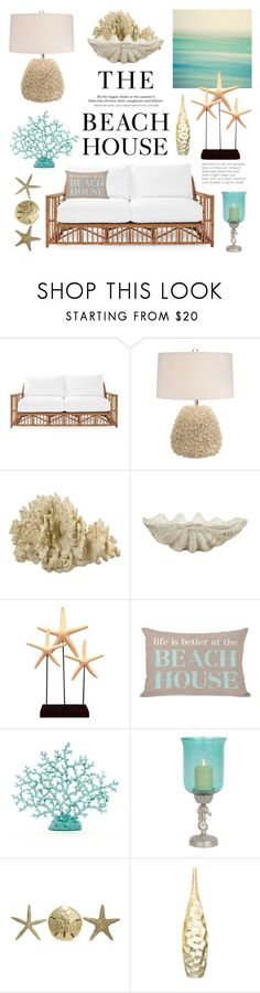 """The Beach House"" by lgb321 on Polyvore featuring interior, interiors, interior design, home, home decor, interior decorating, H&M, Serena & Lily, Jayson Home and Fetco"