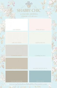 Shabby Chic by Rachel Ashwell Chalk & Clay Paint Palette rally like Truly Teal Lily White Green Fields London Light Caribbean Sea.