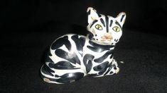 ITALIAN TIN GLAZED BLACK AND WHITE CAT.   Marked 5/691 made Italy