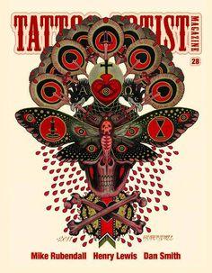 Cover from an issue of Tattoo Artist Magazine. http://tattooartistmagazineblog.com/2011/10/28/mike-rubendall-tattoo-artist-magazine-28-teaser-video-tattoo-artist-magazine-blog/