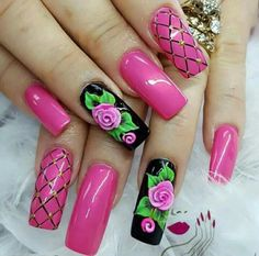 we've angled up attach art designs that were spotted all over the winter /fall 2016 2017 .Get afflatus from the coolest attach art designs and enjoy! Hot Pink Nails, Pink Nail Art, 3d Nail Art, Cool Nail Art, Nail Arts, Pretty Nail Art, Beautiful Nail Art, Black And White Nail Designs, Cute Nail Art Designs