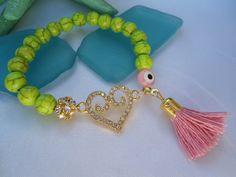 SALE VALENTINES LOVE Bracelet Bohemian Heart Bracelet  by Nezihe1, $15.99