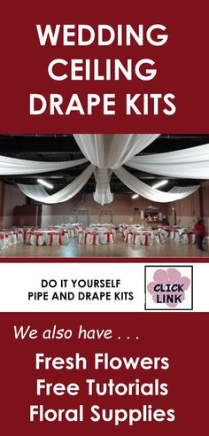 Stunning ideas for DIY wedding kits for ceilings, backdrops and table skirting.  Check out more by clicking link.