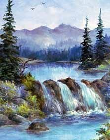 Enjoy Painting Landscapes by Susan Scheewe Brown Watercolor Landscape, Landscape Art, Landscape Paintings, Watercolor Paintings, Scenery Paintings, Wet On Wet Painting, Waterfall Paintings, Bob Ross Paintings, Poetry Art