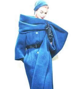 Jardin des Modes September 1957  Coat with huge scarf by Pierre Balmain