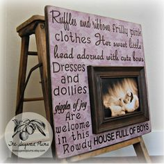 Personalized Baby Picture Frame Custom 16x16 Ruffles and Ribbons Baby Shower Baptism First Birthday Gift Godparents Baby Girl Purple