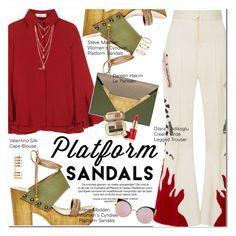"""Stand Up! Platform Sandals"" by oshint ❤ liked on Polyvore featuring Steve Madden, Dilara Findikoglu, Valentino, Dareen Hakim, Dolce&Gabbana, Estée Lauder, Repossi, H&M, Fendi and sandals"